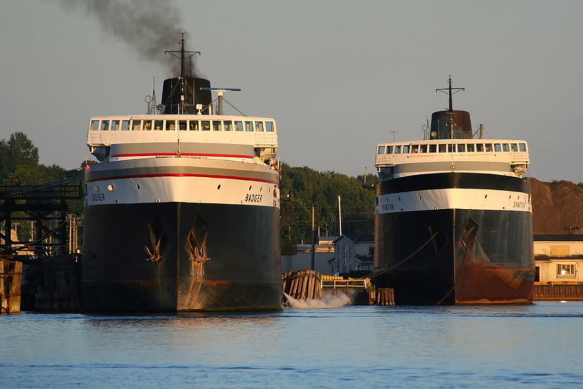 The SS Badger and SS Spartan in the dock at Ludington, Michigan.