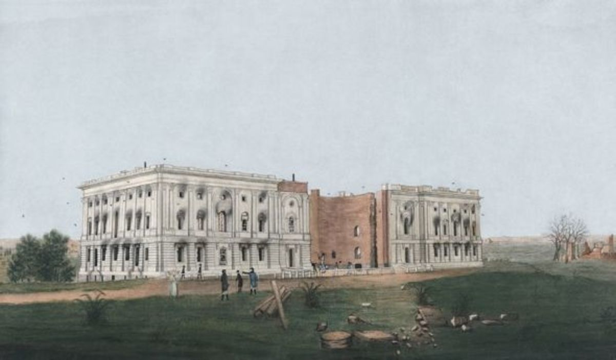 The first White House being built in Washington, D.C.
