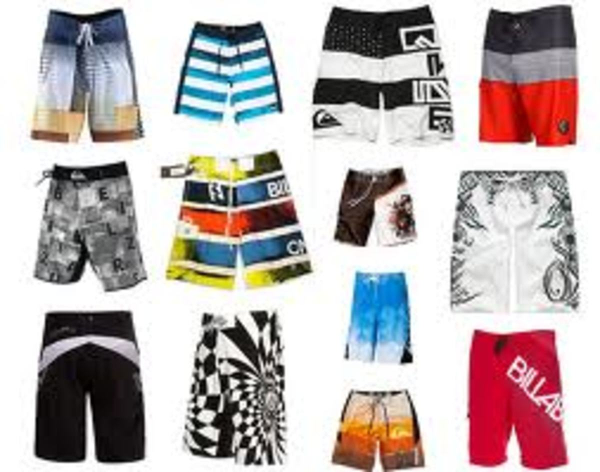 Colorful board shorts or 'jams'