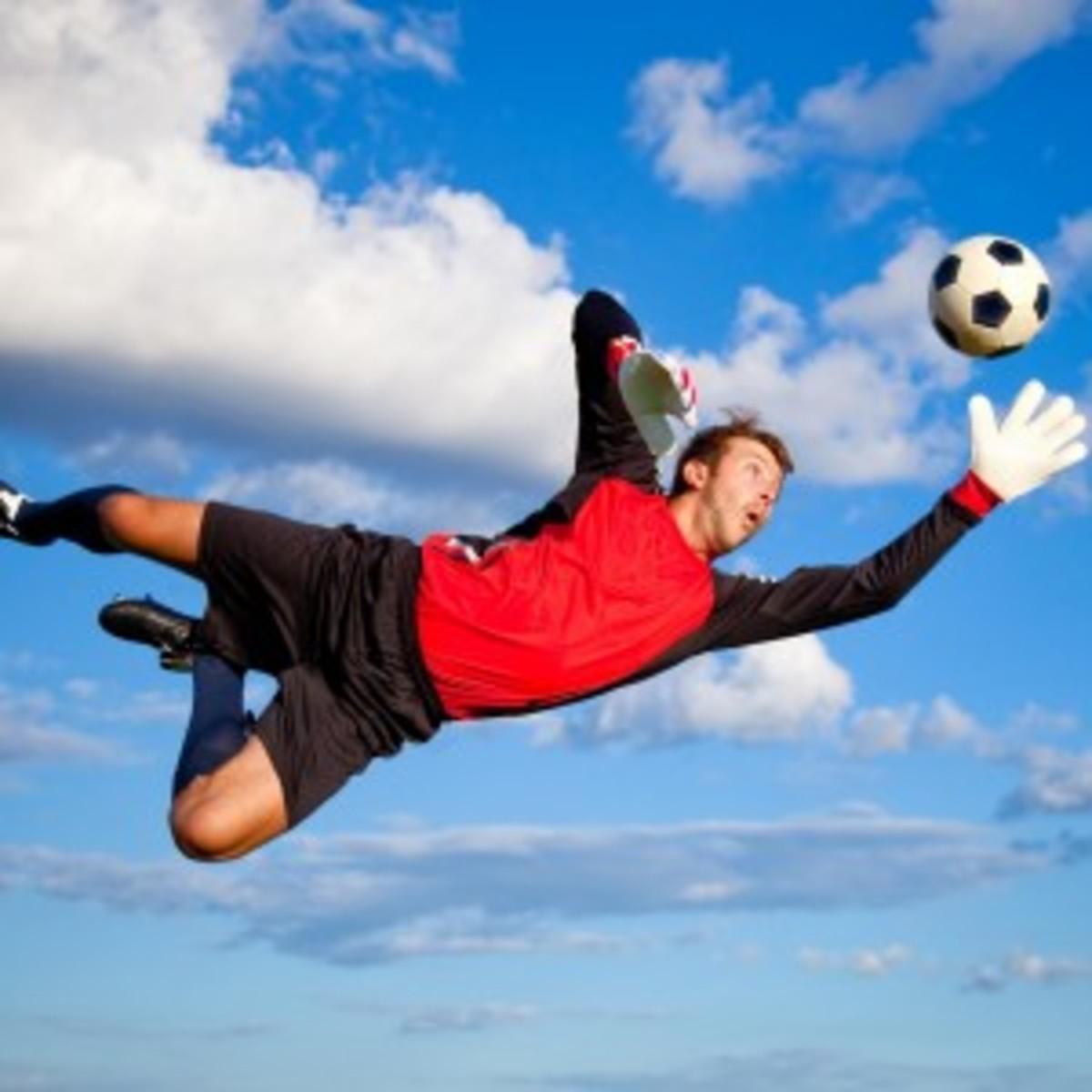 Flying soccer player wearing baggies