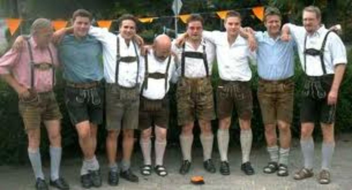 Three of the guys didn't get the email about wearing high socks with their lederhosen.