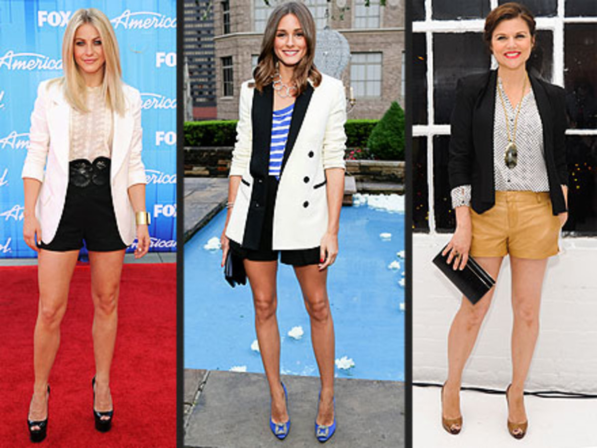 Shorts with high heels can be glamorous.