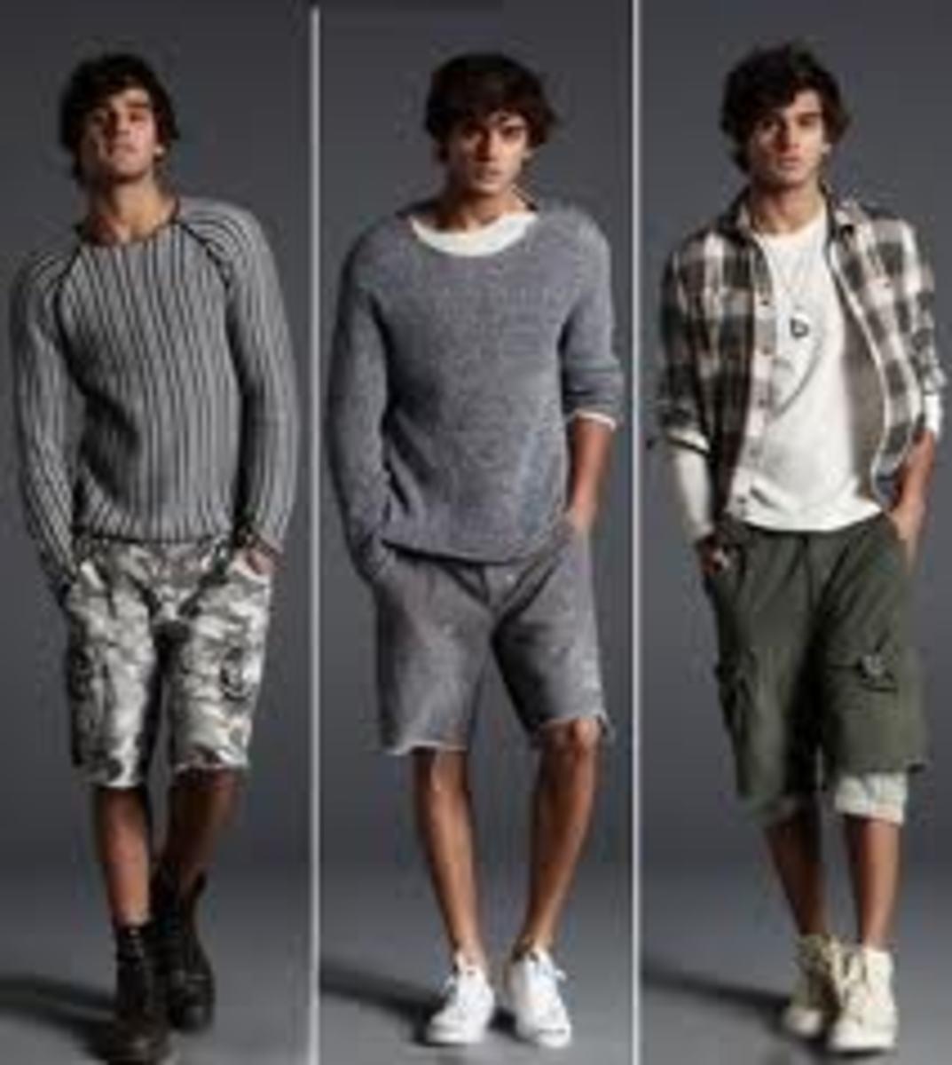 Young men wearing cargo shorts
