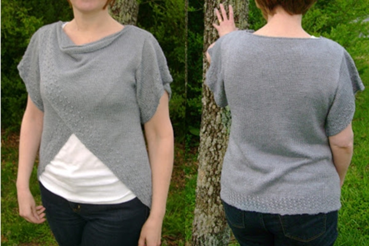 knitted tulip wrap top  (c)purl3agony 2012