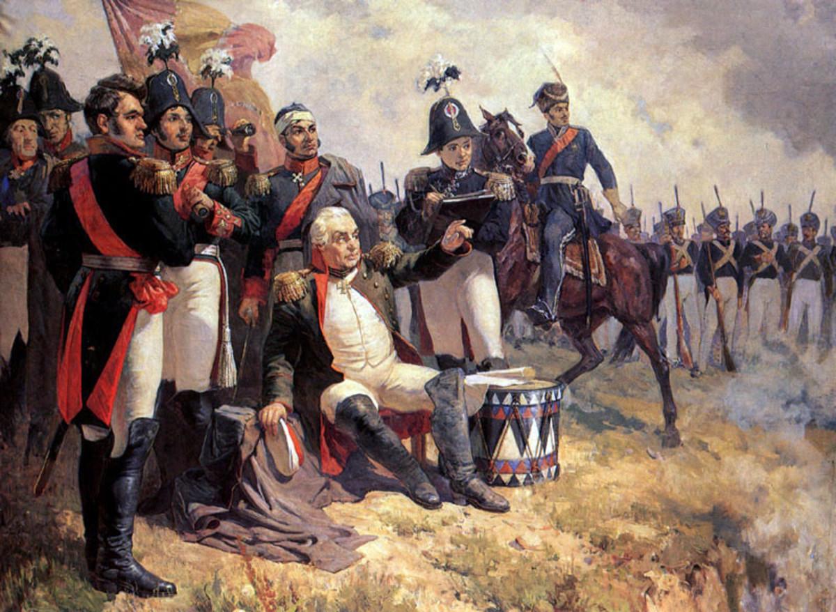 Kutuzov (centre) and his staff assessing the battlefield at Borodino.