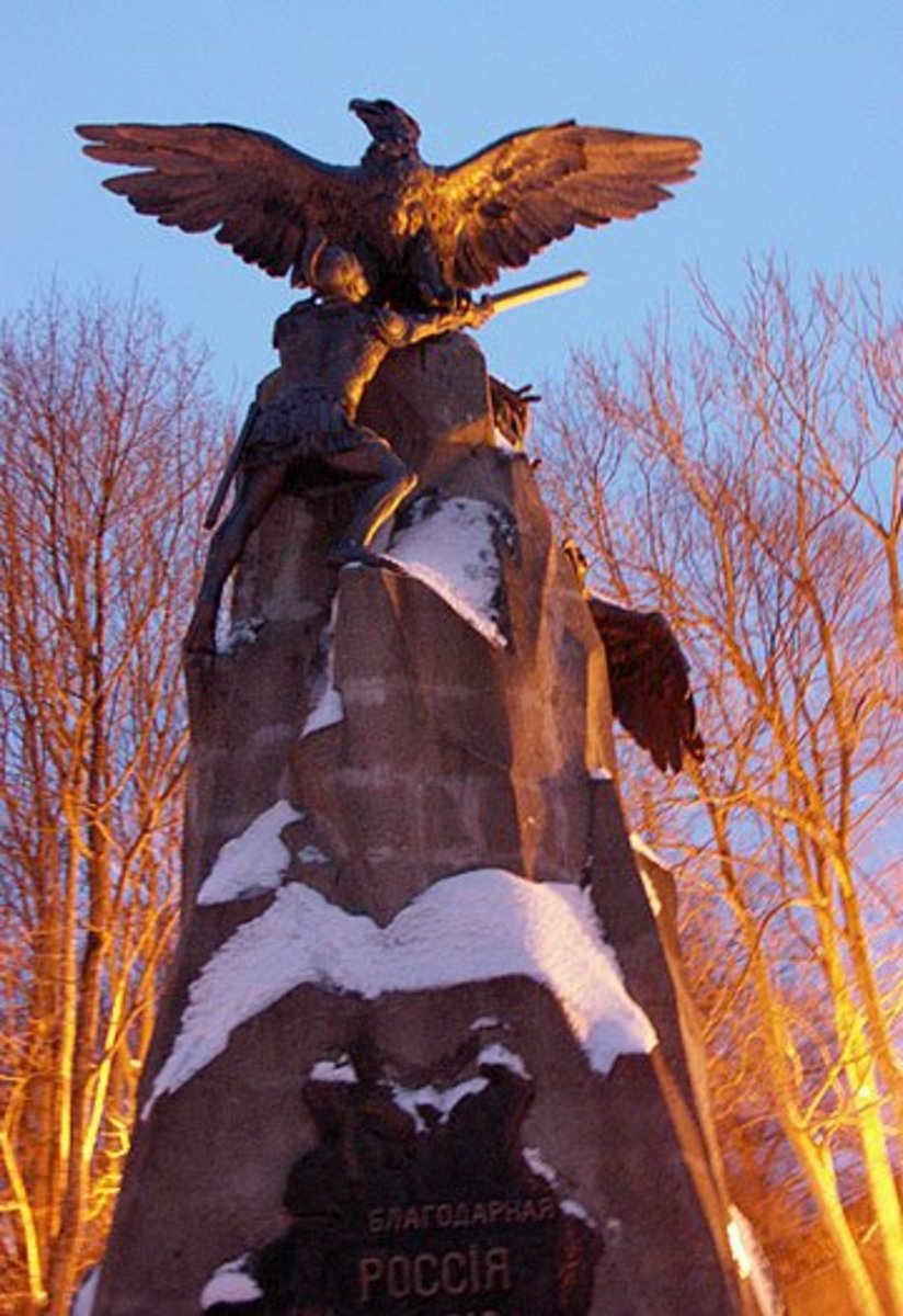 The Eagle Monument in Smolensk, erected in 1912 to commemorate the centenary of Russia's defeat of Napoleon in the battle.