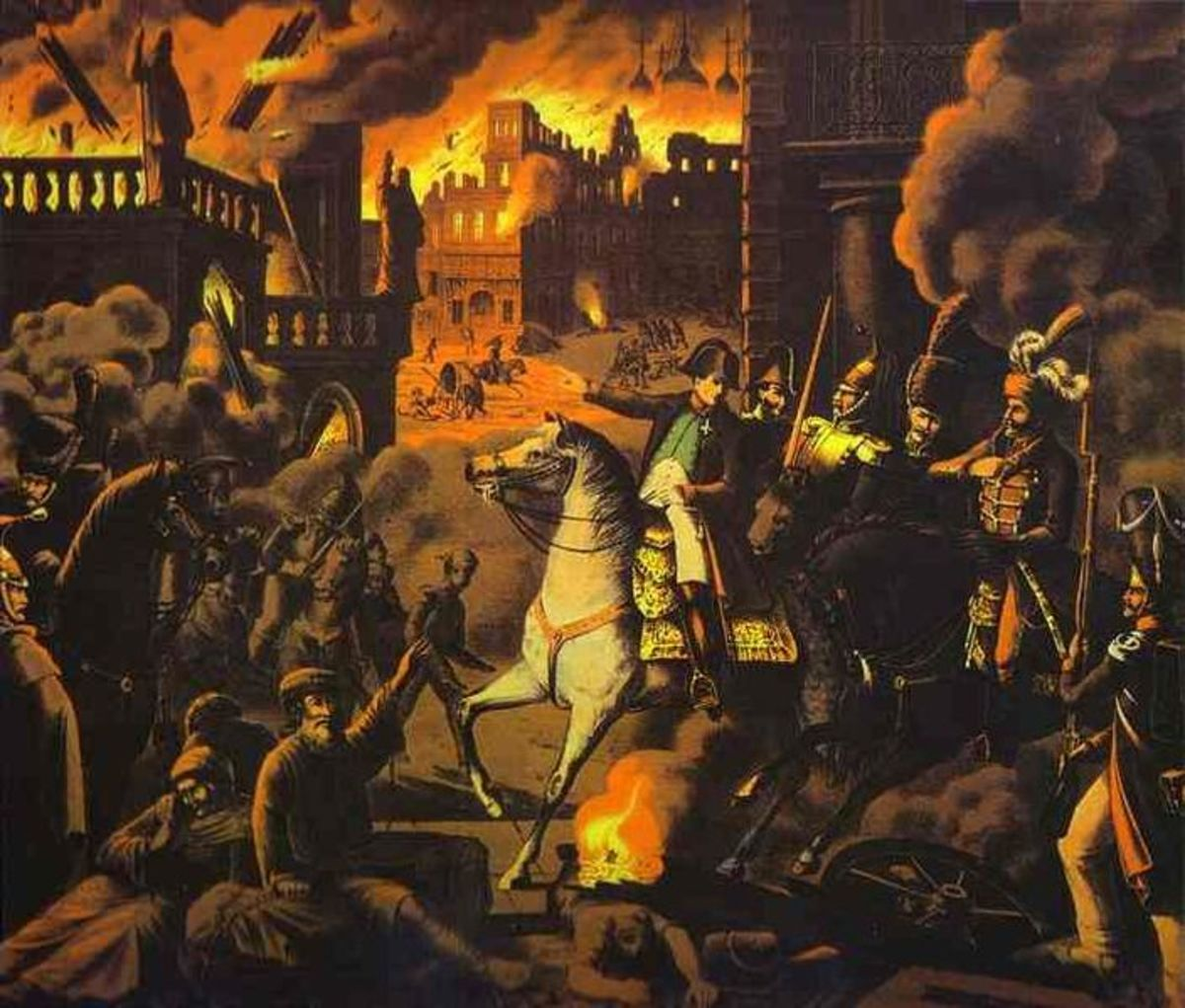 The Grande Armee set fire to Moscow's wooden buildings, as a result of a complete collapse in morale and discipline. Looting was widespread and an estimated four fifths of the city was destroyed by the fires.