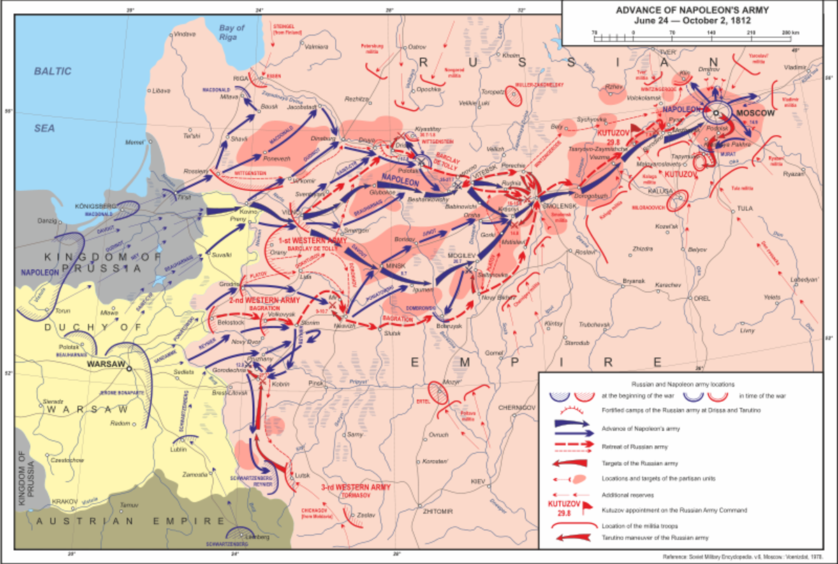 A map showing showing the advance of Napoleon's army between June-October 1812.