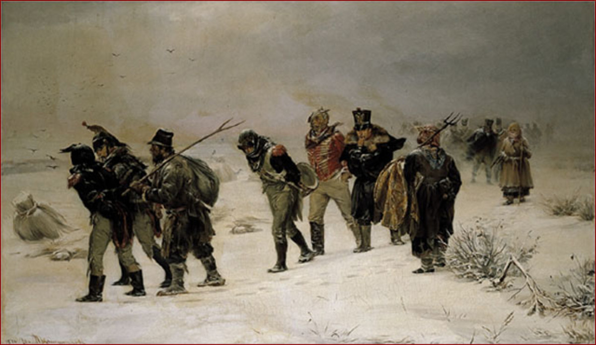 Bedraggled French troops trudging through the deep Russian snow.