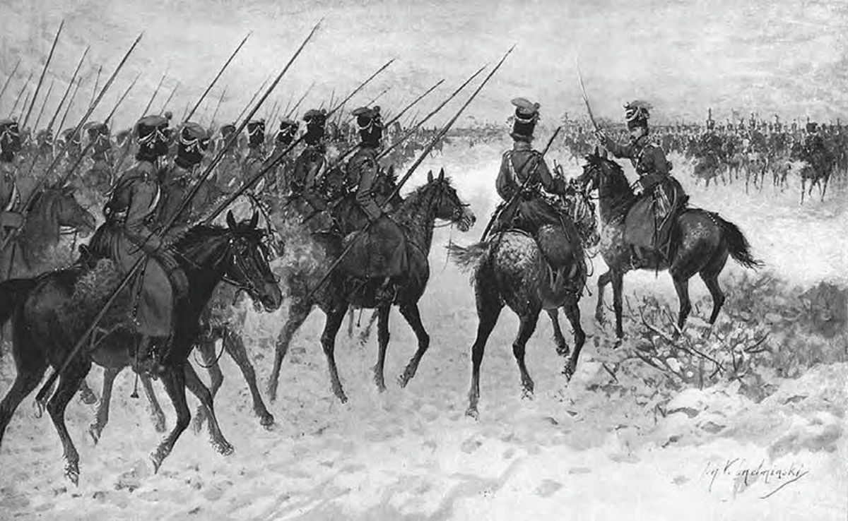 The cossacks were an irregular type of cavalry, very rarely committed to battle they specialised in reconnaissance and harassing the enemy flanks.