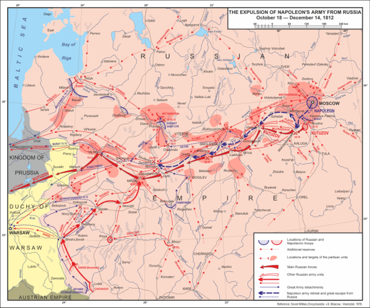 A map showing the expulsion of Napoleon's army from Russia from October-December 1812.