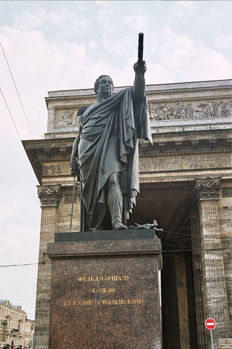 This is a monument to Kutuzov outside the Kazan Cathedral in St. Petersburg. The Cathedral itself was built to commemorate Russia's victory over Napoleon.