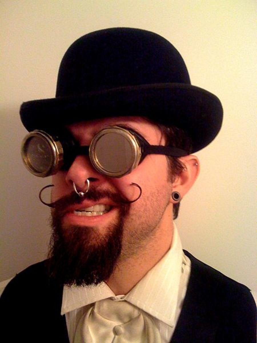 Shiny lenses and a leather strap are one characteristic of steampunk goggles.