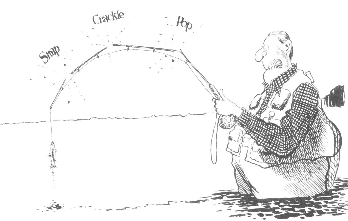 "The 2wt fly rod experience as viewed by Jack Ohman in ""Fear of Fly Fishing""."