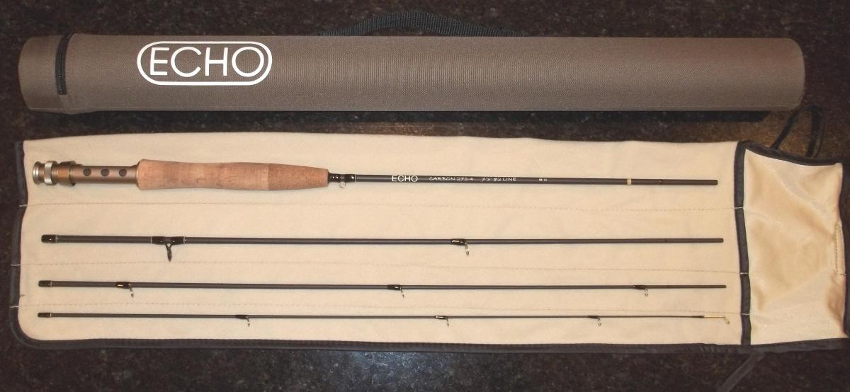 The Echo Carbon 2wt fly rod with rod sock and case.