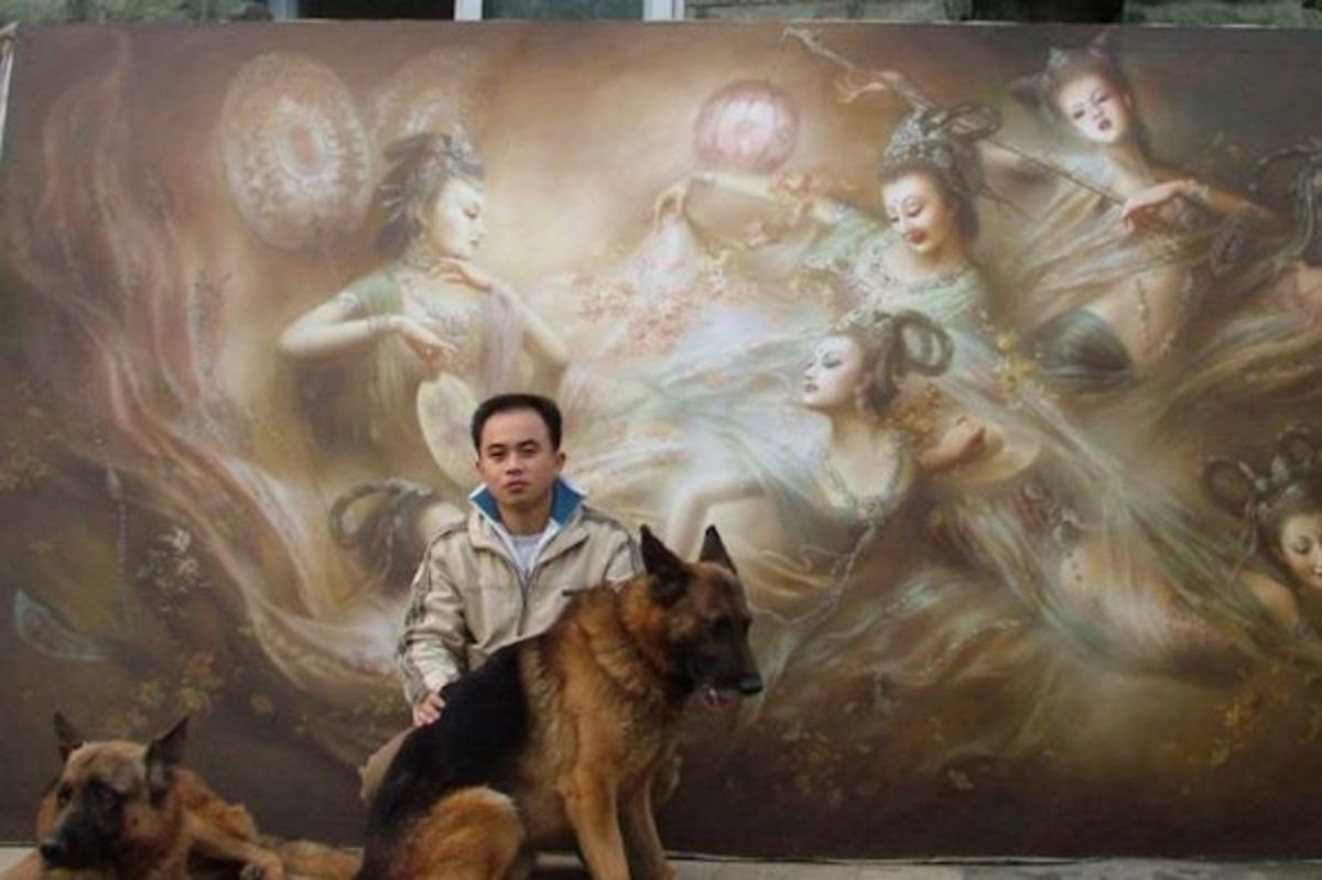 The painter, Zeng Hao with one of his oriental oil painting works
