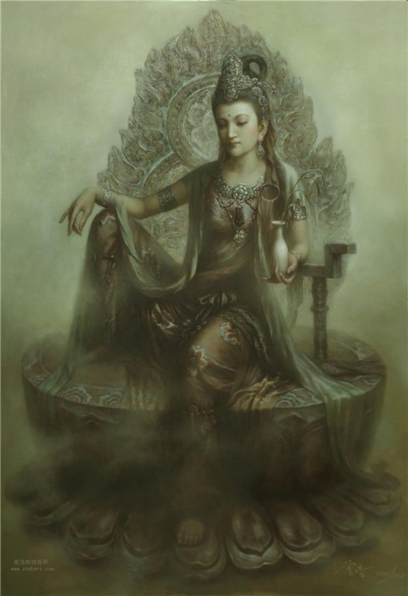 Seated Kuan Yin Bodhisattva holding a vase with a willow branch