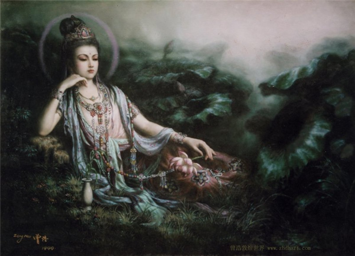 Kuan Yin Bodhisattva (Goddess of Mercy) Oberving the World