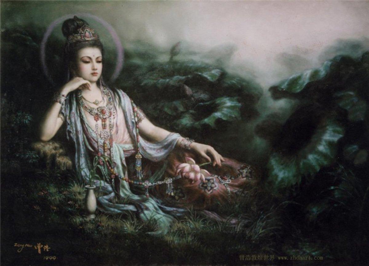 Kuan Yin Bodhisattva (Goddess of Mercy) Oberving the World