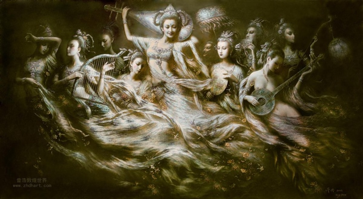 Group of Oriental Angels with Music Instruments