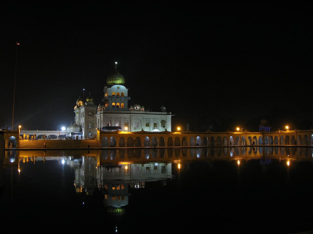 Gurudwara Bangla Sahib at night - a view from the sarovar