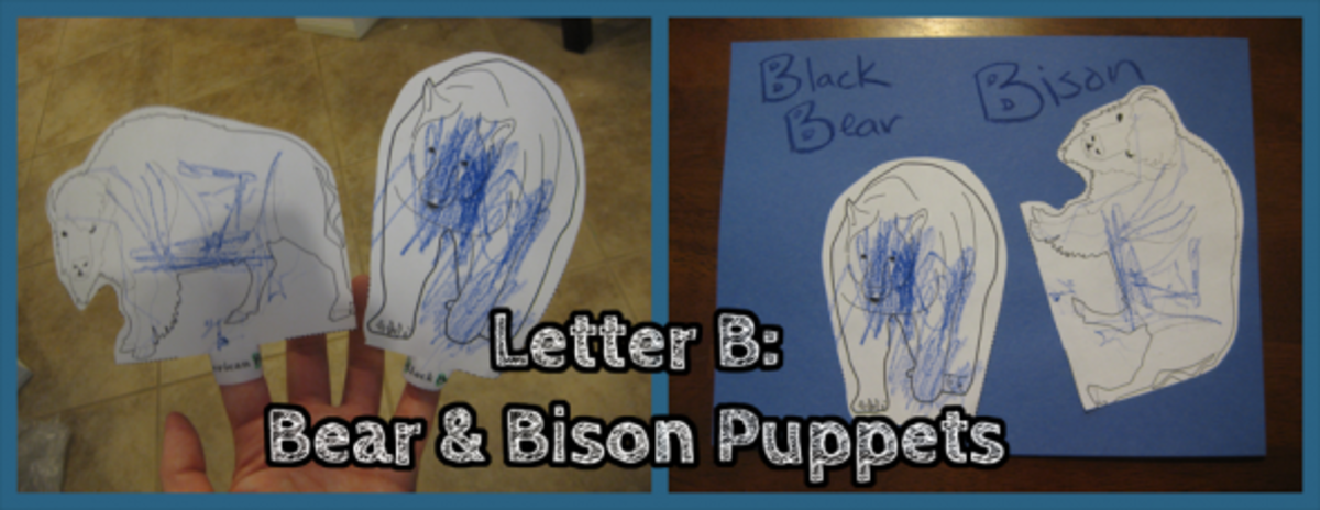Letter B Bear and Bison Puppets