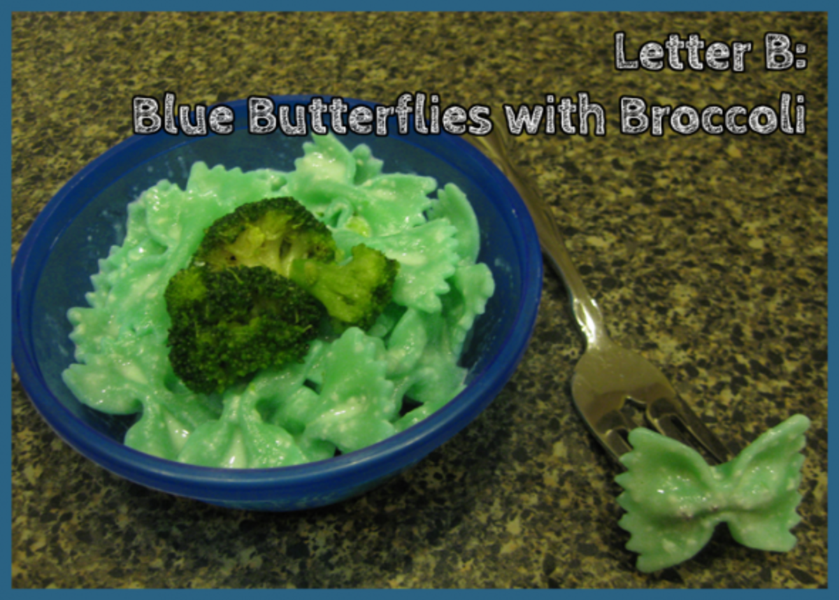 Letter B Blue Butterflies with Broccoli