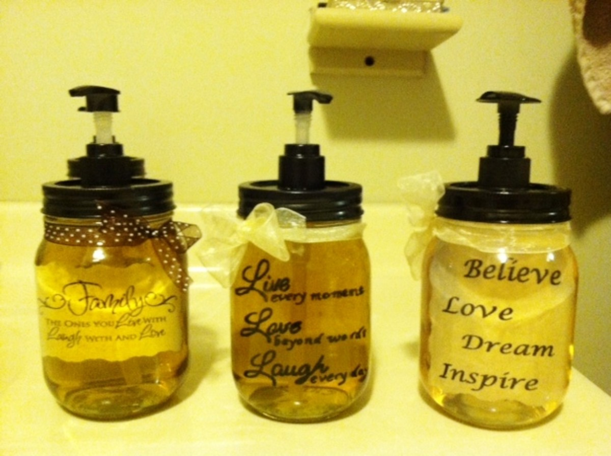 "Some of my homemade soap pumps with ""floating words"" in them.  Check out my other Hub article on how to get the ""floating words"" effect!"