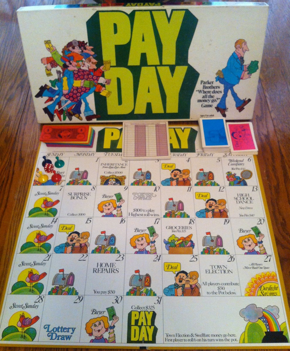 Most of the components of the Payday board game.
