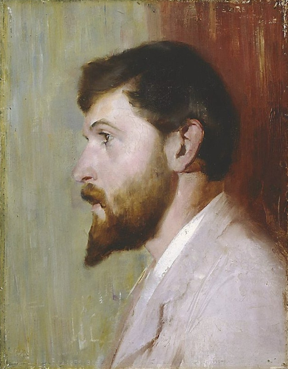 Smike Streeton age 24 (portrait of Arthur Streeton), painting, oil on canvas, 45.7 x 35.7cm by Tom Roberts