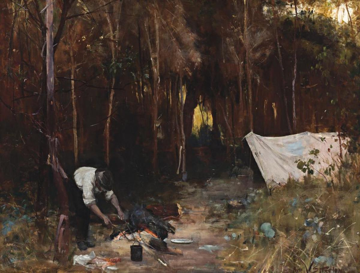 Settler's Camp, painting, oil on canvas, 86.5 x 112.5cm by Arthur Streeton