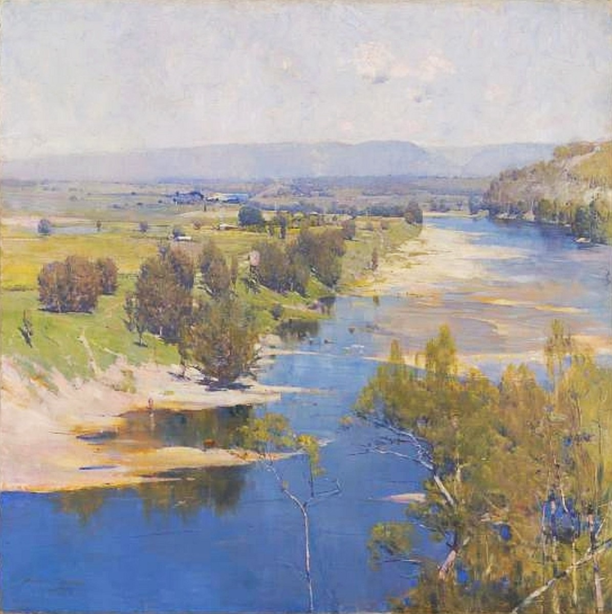 The purple noon's transparent might, painting, oil on canvas, 123.0 x 123.0cm by Arthur Streeton