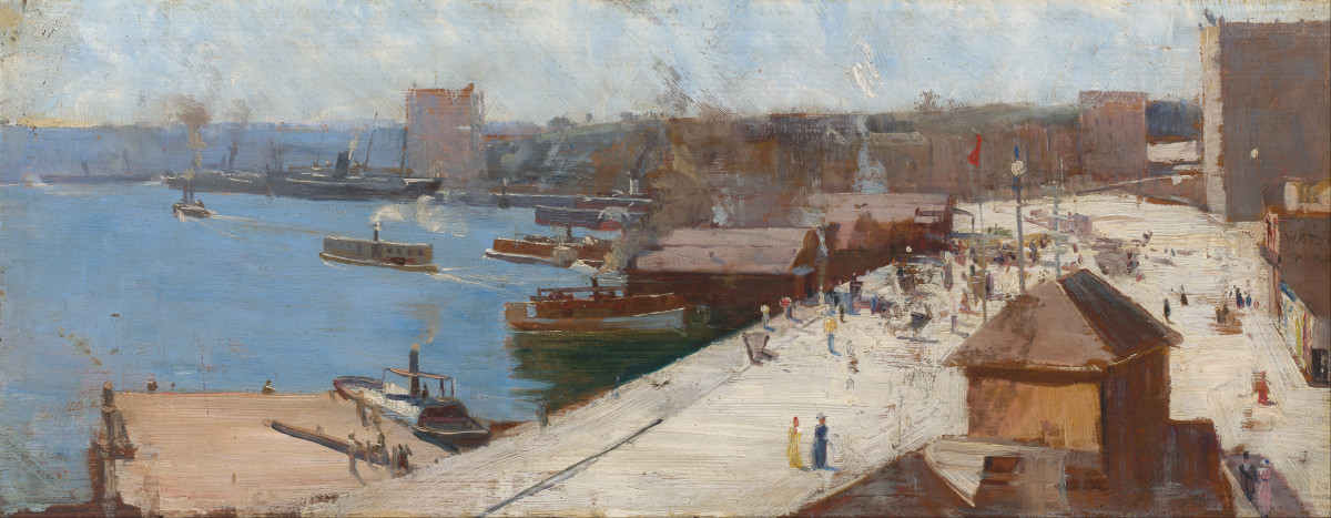 Circular Quay (1892) by Arthur Streeton oil on wood panel, Height: 193 mm (7.6 in). Width: 476 mm (18.74 in) National Gallery of Australia [Public domain or Public domain]