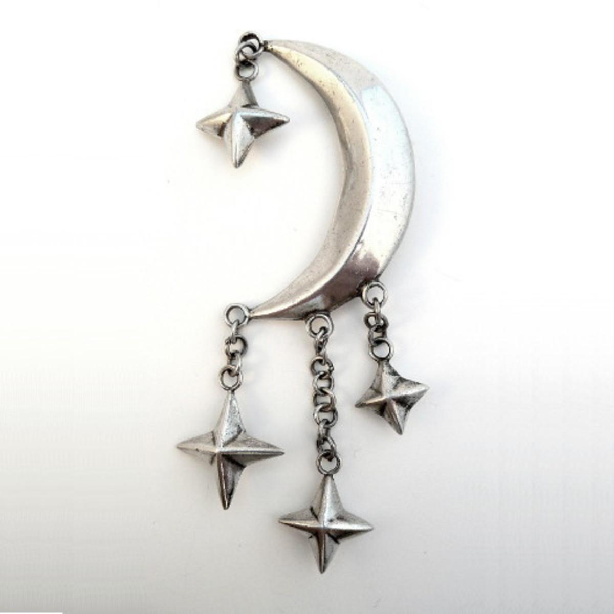 HUBERT HARMON Sterling Silver MOON & STARS Brooch