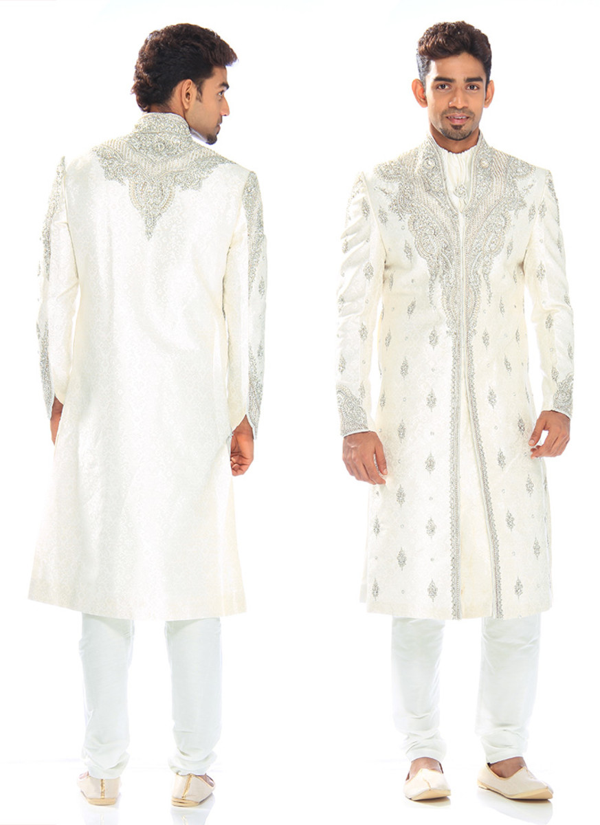Elite Off White Stones Embellished Sherwani. Photos courtesy of Cbazaar.com
