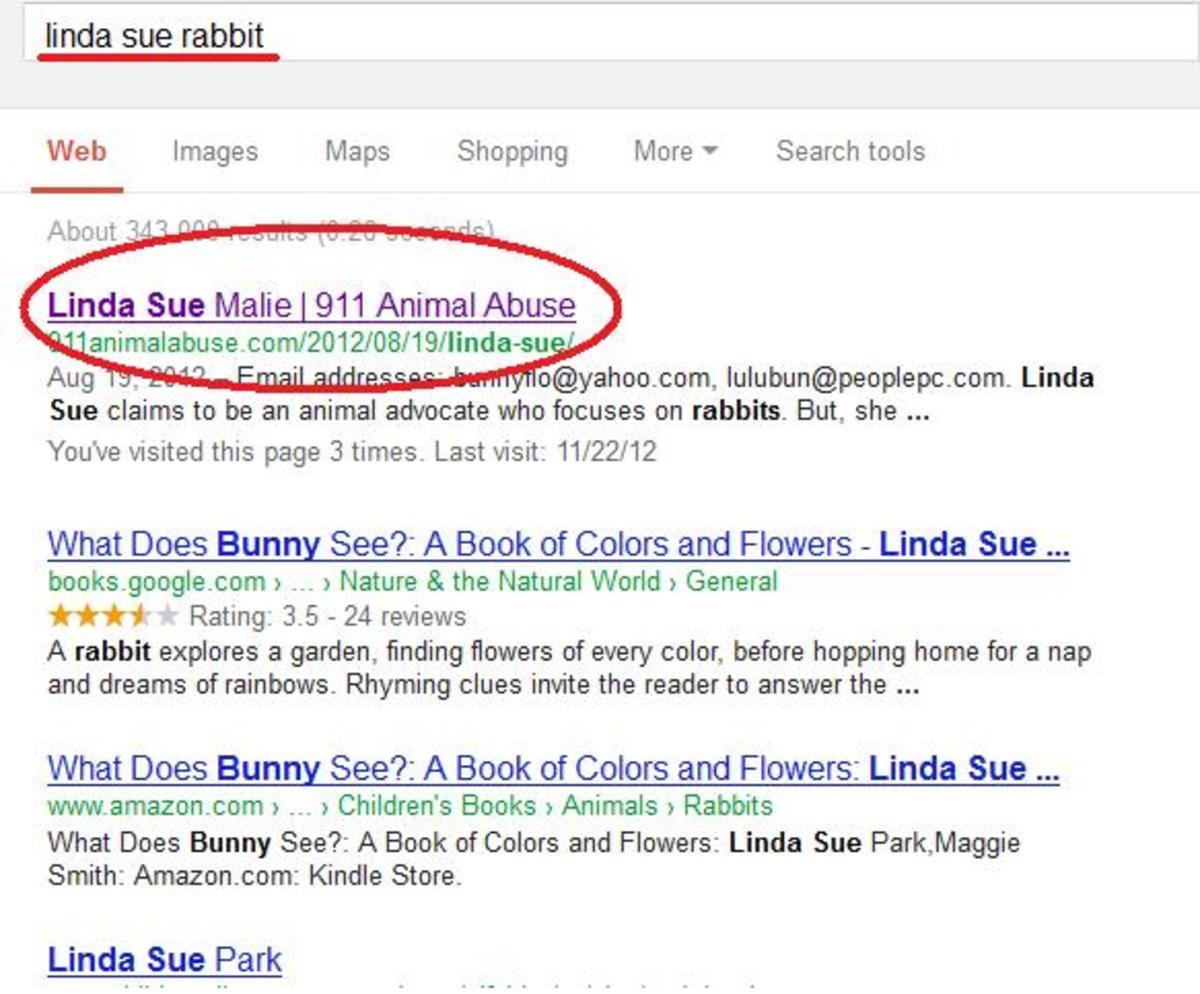 'Linda Sue Rabbit' search results