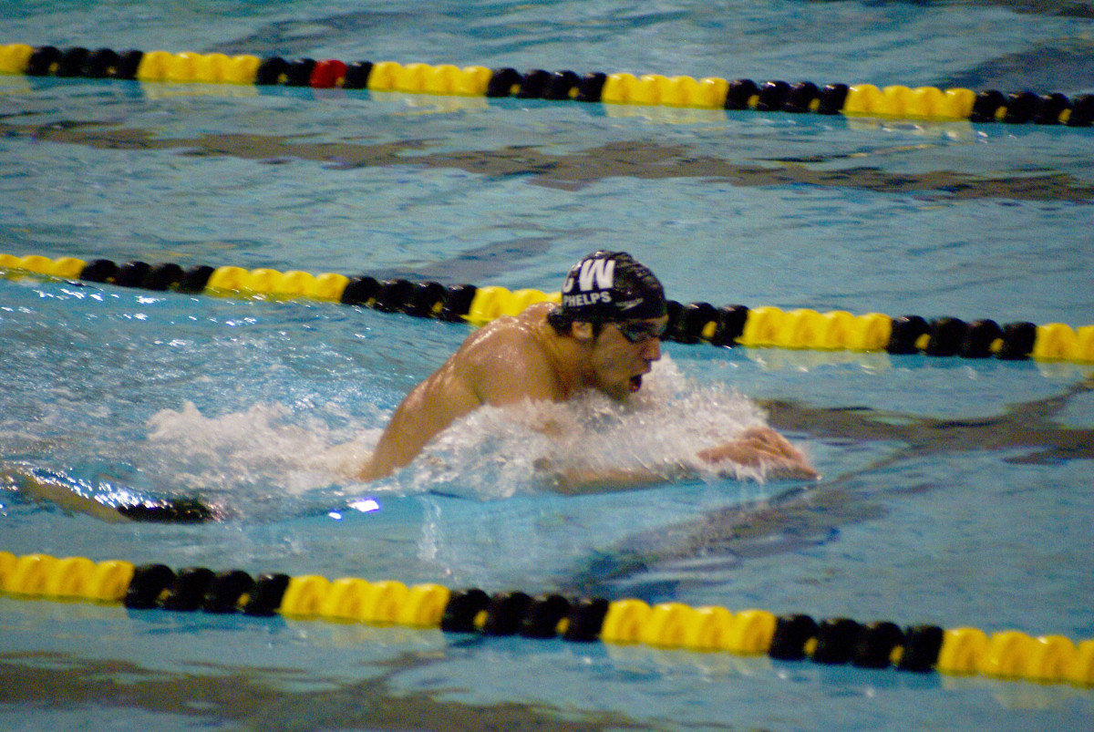 Michael Phelps is swimming breaststroke