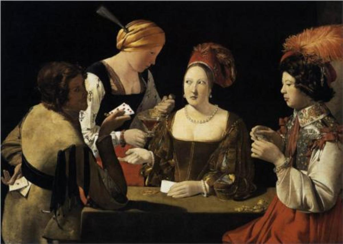 """""""The Cheat With the Ace of Diamonds"""" by Georges de la Tour (1593-1652)."""