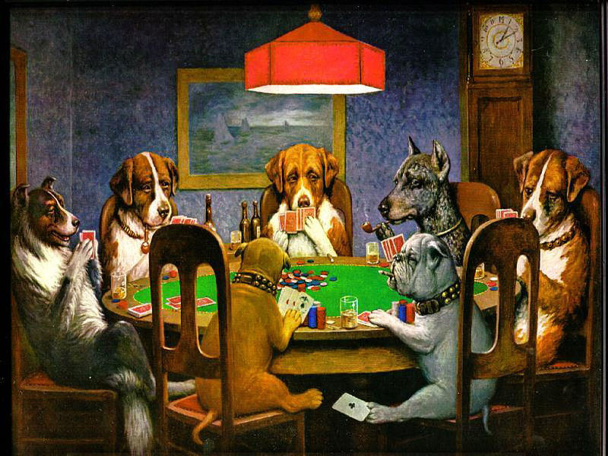 """""""A Friend in Need"""" by Cassius Coolidge. From his 1903 """"Dogs Playing Poker"""" series."""