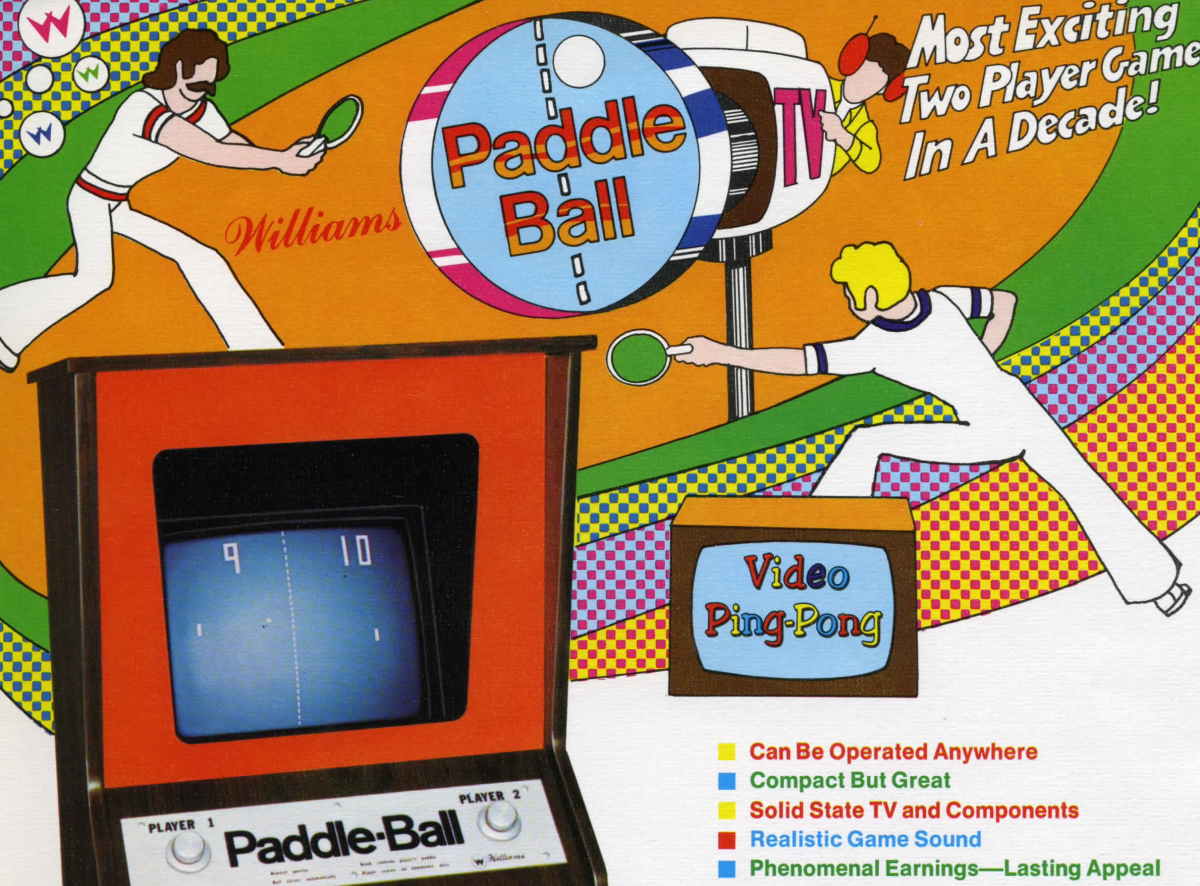 Promotional flyer for the 1973 game Paddle Ball