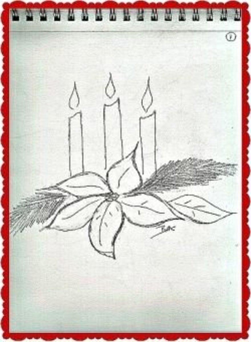 Sketchbook - Candles Poinsettias ~  Image M Burgess