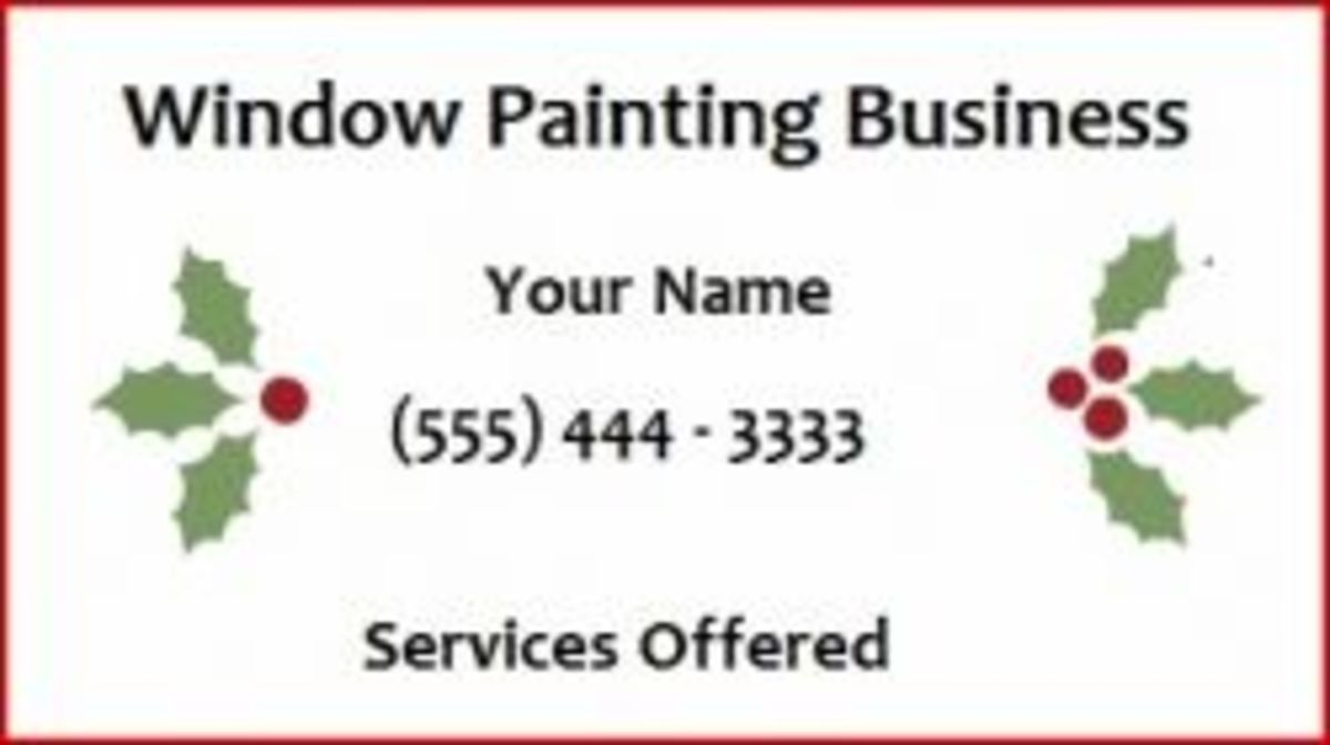 Business Card Sample For Holiday Window Painting - Image: M Burgess