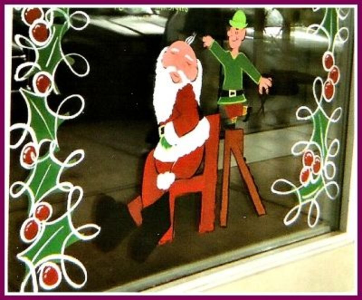 Santa At The Barber Shop - Window Painting Design