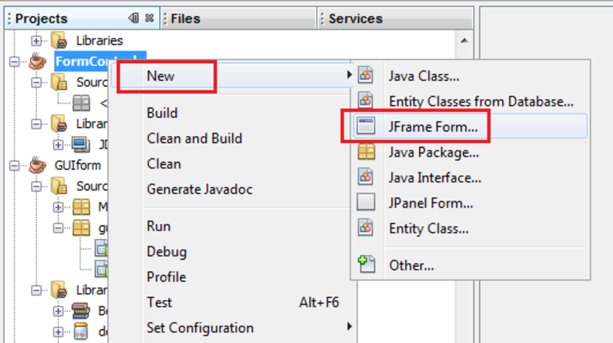 Creating new Java form in Java NetBeans