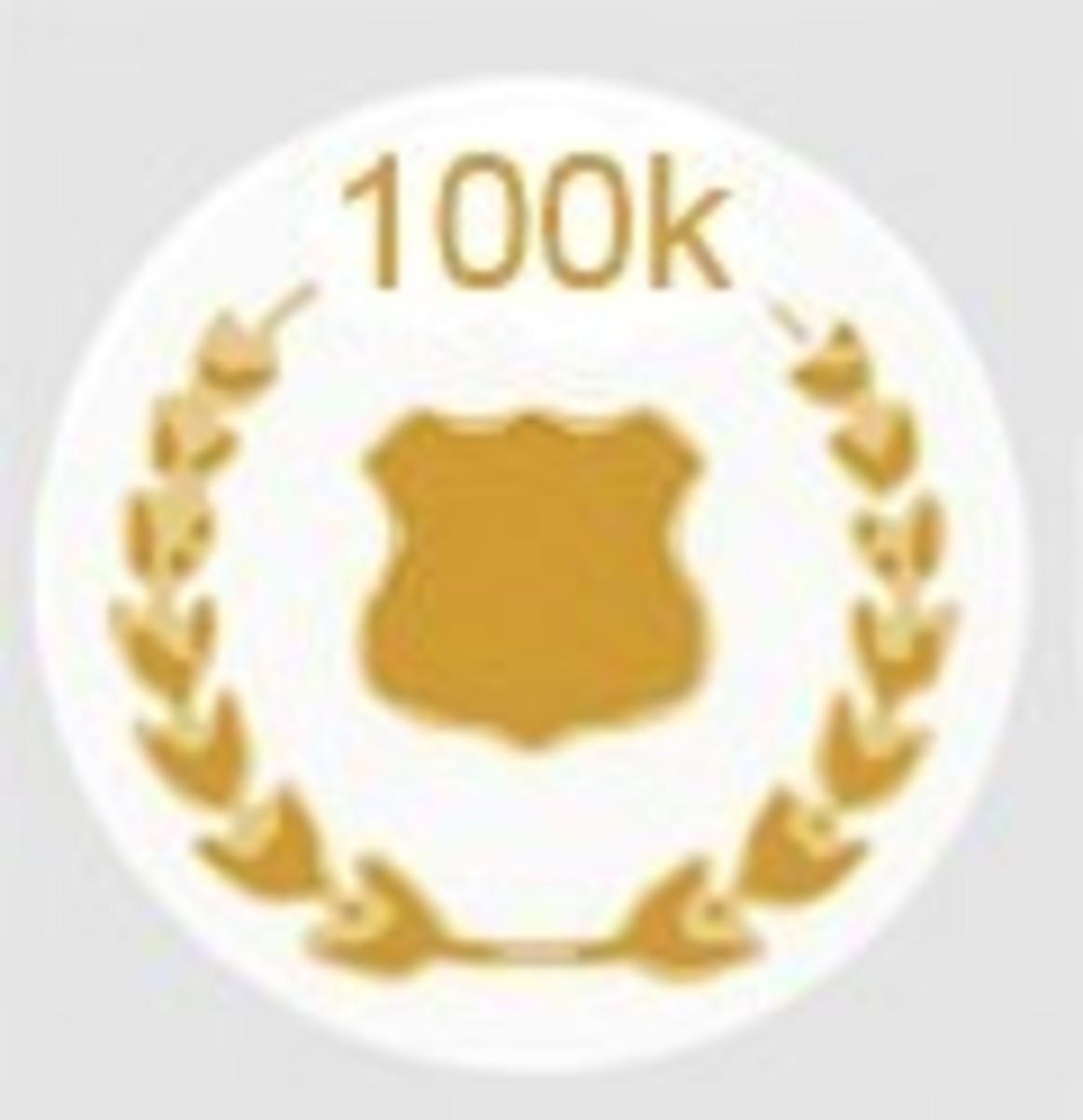 HubPages 100,000 Hub Views Accolade