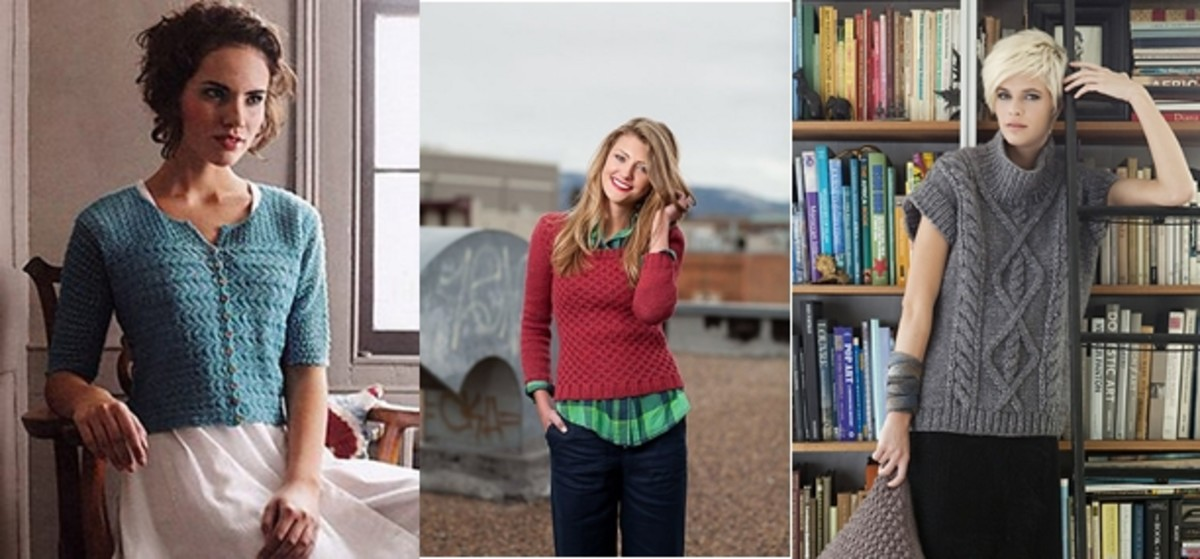 (L to R)  Debbie Bliss from Rialto pattern book, Agnes Pullover by Ruth Garcia-Alcatud from Knitscene Fall 2012 magazine, Cap Sleeve Tunic by Mari Lynn Patrick from Vogue Knitting Winter 2011/2012
