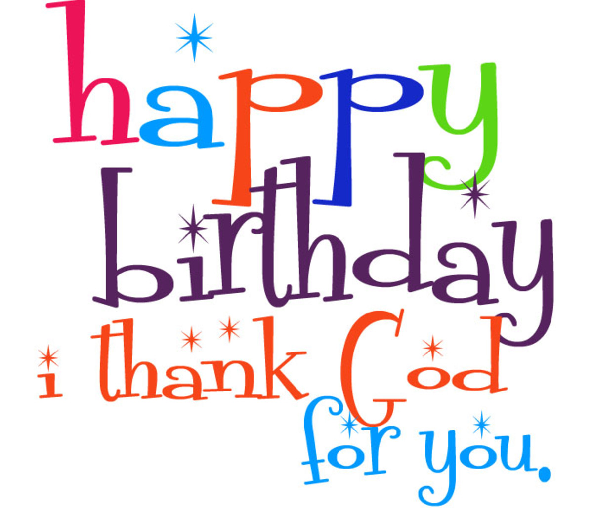 Cute Birthday Clipart for Facebook - Happy Birthday, I Thank God For You.