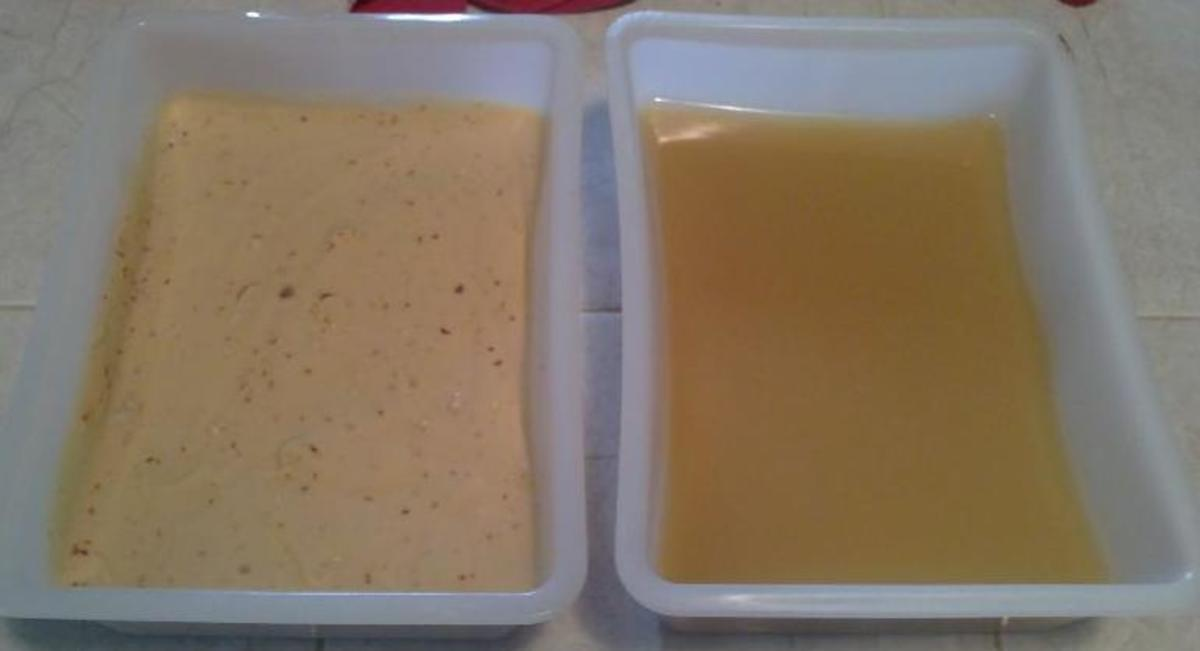 Two batches of soap placed in a mould and left to dry.