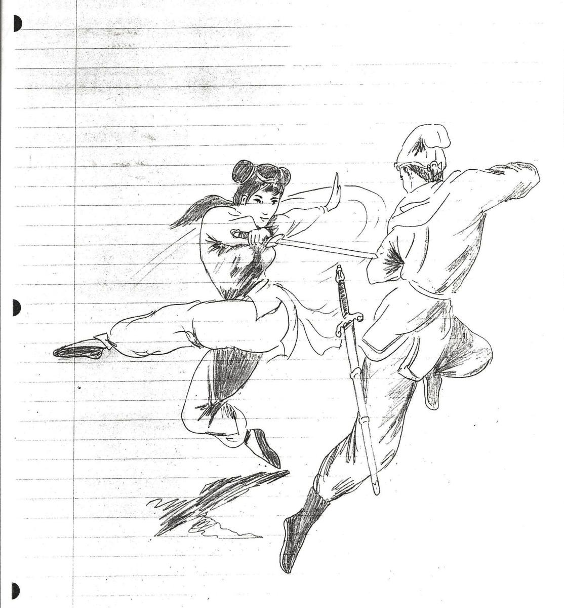 A Man and Woman Engaged In Combat by Bruce Lee