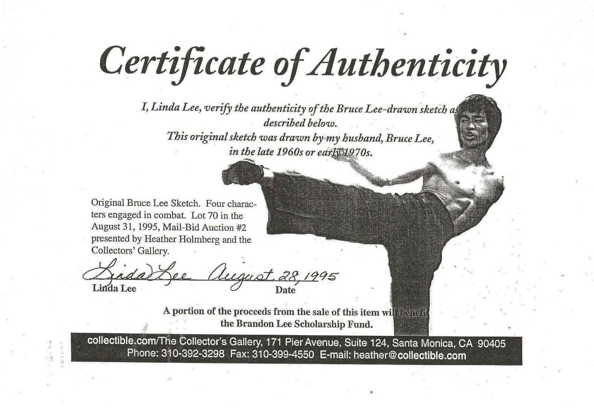 Certificate Of Authenticity of a Bruce Lee Sketch